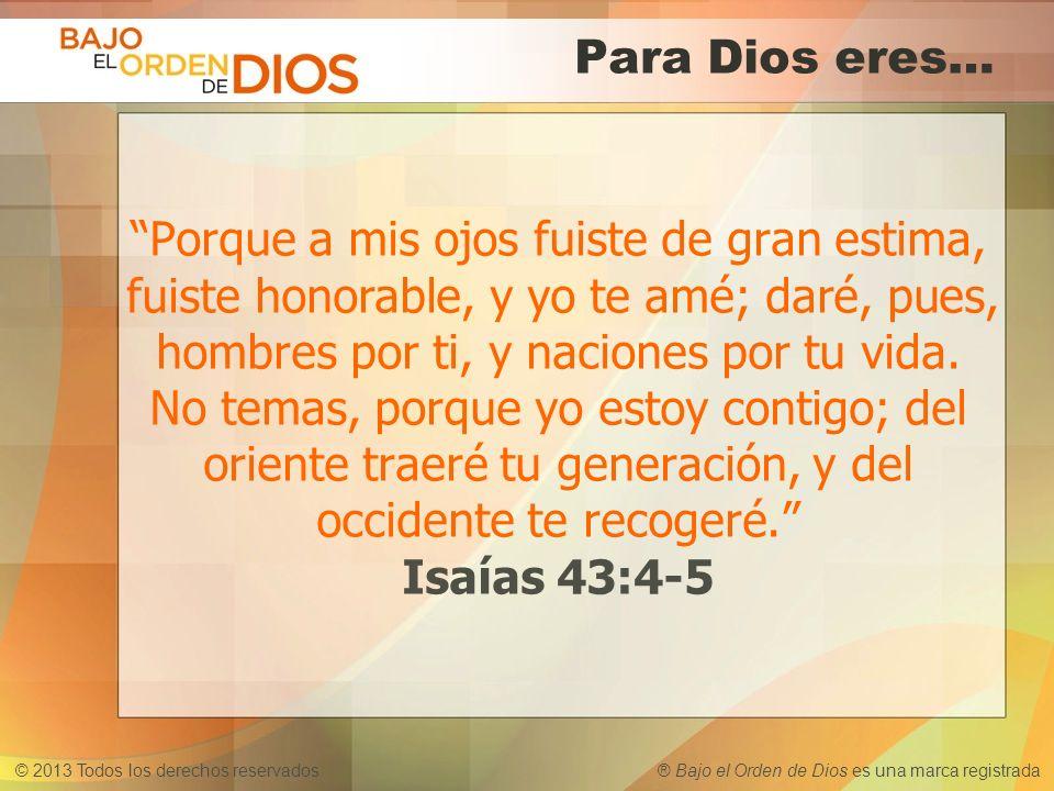 © 2013 Todos los derechos reservados ® Bajo el Orden de Dios es una marca registrada Para Dios eres… Porque a mis ojos fuiste de gran estima, fuiste h
