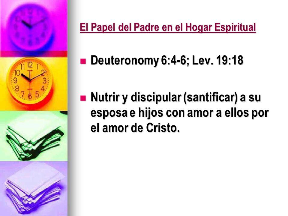 El Papel del Padre en el Hogar Espiritual Deuteronomy 6:4-6; Lev. 19:18 Deuteronomy 6:4-6; Lev. 19:18 Nutrir y discipular (santificar) a su esposa e h