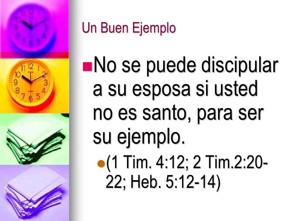 Un Buen Ejemplo No se puede discipular a su esposa si usted no es santo, para ser su ejemplo. No se puede discipular a su esposa si usted no es santo,