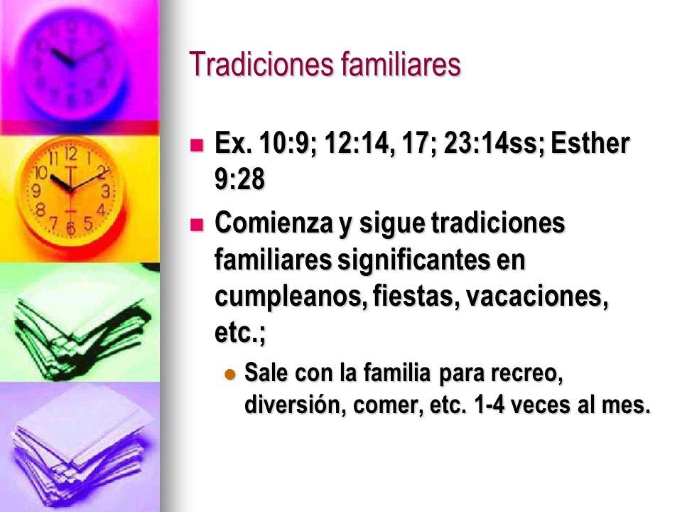 Tradiciones familiares Ex. 10:9; 12:14, 17; 23:14ss; Esther 9:28 Ex. 10:9; 12:14, 17; 23:14ss; Esther 9:28 Comienza y sigue tradiciones familiares sig