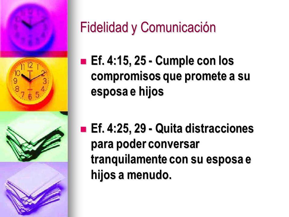 Fidelidad y Comunicación Ef. 4:15, 25 - Cumple con los compromisos que promete a su esposa e hijos Ef. 4:15, 25 - Cumple con los compromisos que prome