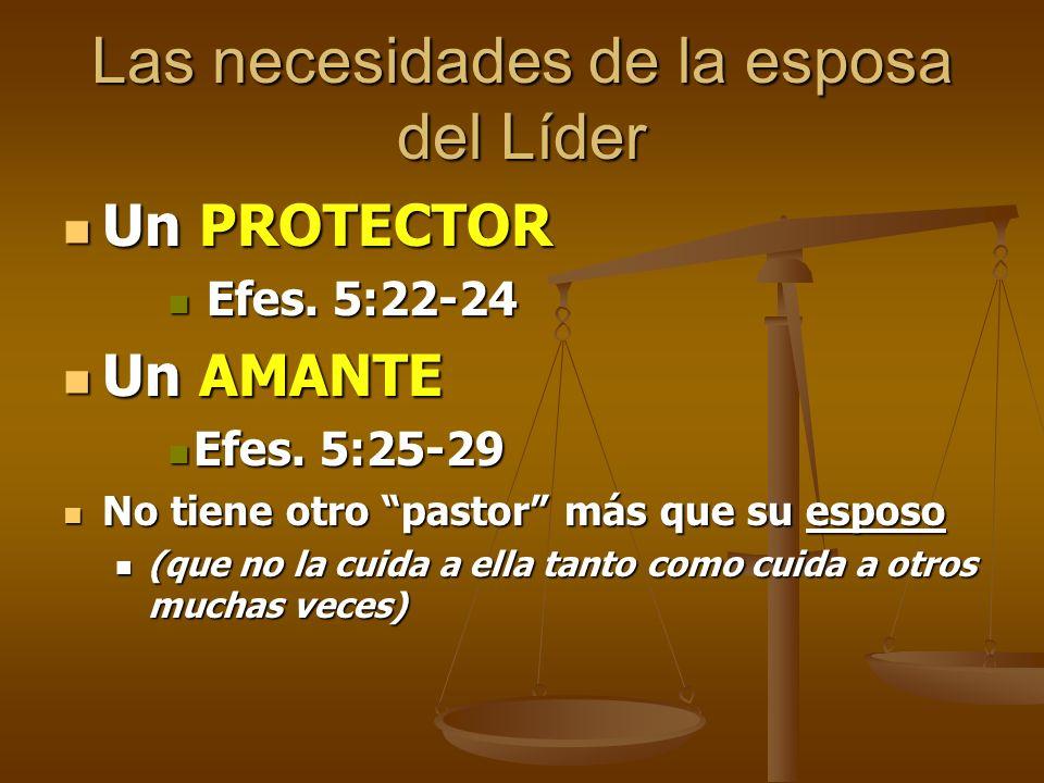 Las necesidades de la esposa del Líder Un PROTECTOR Un PROTECTOR Efes. 5:22-24 Efes. 5:22-24 Un AMANTE Un AMANTE Efes. 5:25-29 Efes. 5:25-29 No tiene