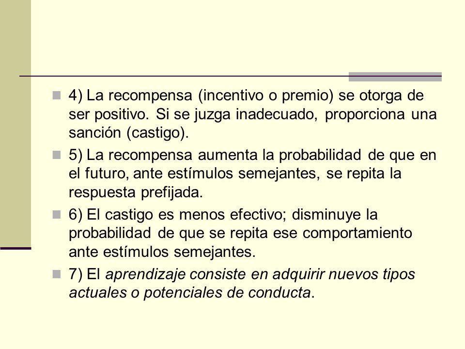 4) La recompensa (incentivo o premio) se otorga de ser positivo. Si se juzga inadecuado, proporciona una sanción (castigo). 5) La recompensa aumenta l