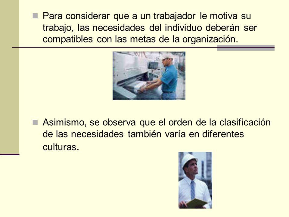 Para considerar que a un trabajador le motiva su trabajo, las necesidades del individuo deberán ser compatibles con las metas de la organización. Asim