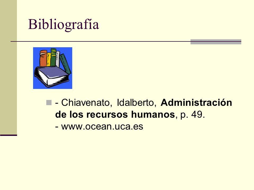 Bibliografía - Chiavenato, Idalberto, Administración de los recursos humanos, p. 49. - www.ocean.uca.es