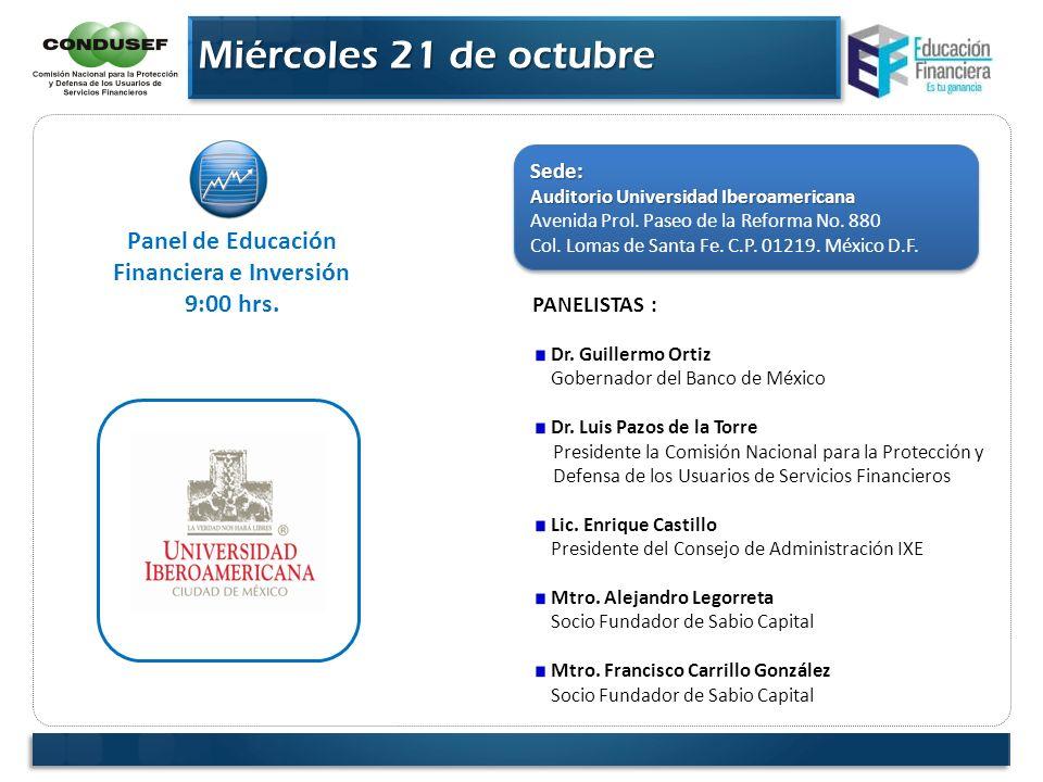 Panel de Educación Financiera e Inversión 9:00 hrs. Sede: Auditorio Universidad Iberoamericana Avenida Prol. Paseo de la Reforma No. 880 Col. Lomas de