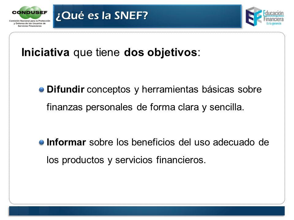 ¿Qué es la SNEF? Iniciativa que tiene dos objetivos: Difundir conceptos y herramientas básicas sobre finanzas personales de forma clara y sencilla. In