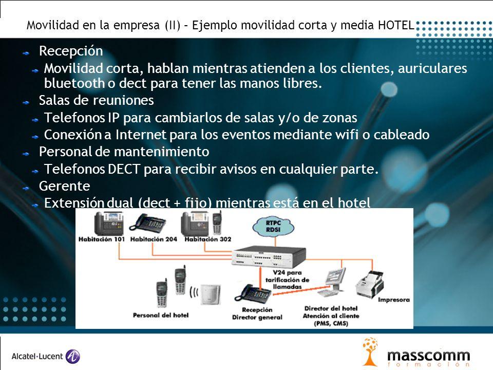 Movilidad en la empresa (II) – Ejemplo movilidad corta y media HOTEL Recepción Movilidad corta, hablan mientras atienden a los clientes, auriculares b