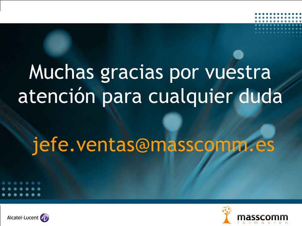 Muchas gracias por vuestra atención para cualquier duda jefe.ventas@masscomm.es
