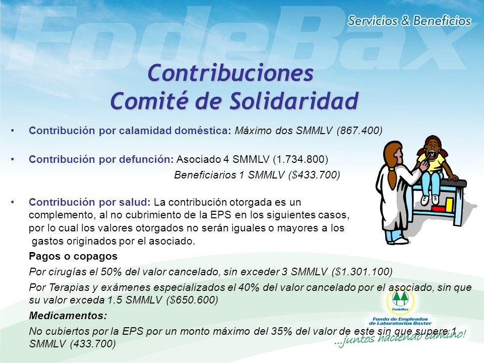 Contribuciones Comité de Solidaridad Contribución por calamidad doméstica: Máximo dos SMMLV (867.400) Contribución por defunción: Asociado 4 SMMLV (1.