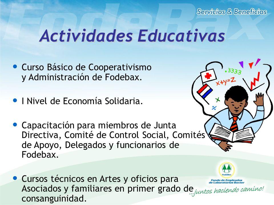 Actividades Educativas Curso Básico de Cooperativismo y Administración de Fodebax. I Nivel de Economía Solidaria. Capacitación para miembros de Junta