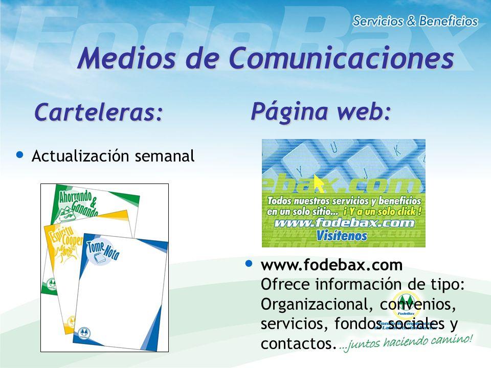 Medios de Comunicaciones Actualización semanal Carteleras: Página web: www.fodebax.com Ofrece información de tipo: Organizacional, convenios, servicio