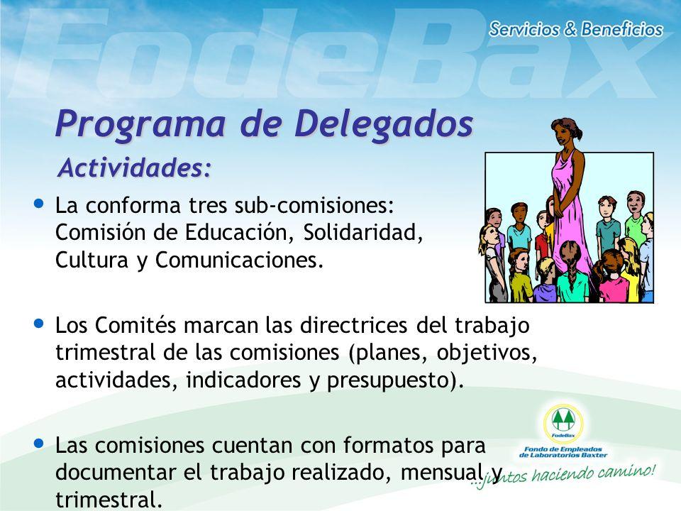Programa de Delegados La conforma tres sub-comisiones: Comisión de Educación, Solidaridad, Cultura y Comunicaciones. Los Comités marcan las directrice