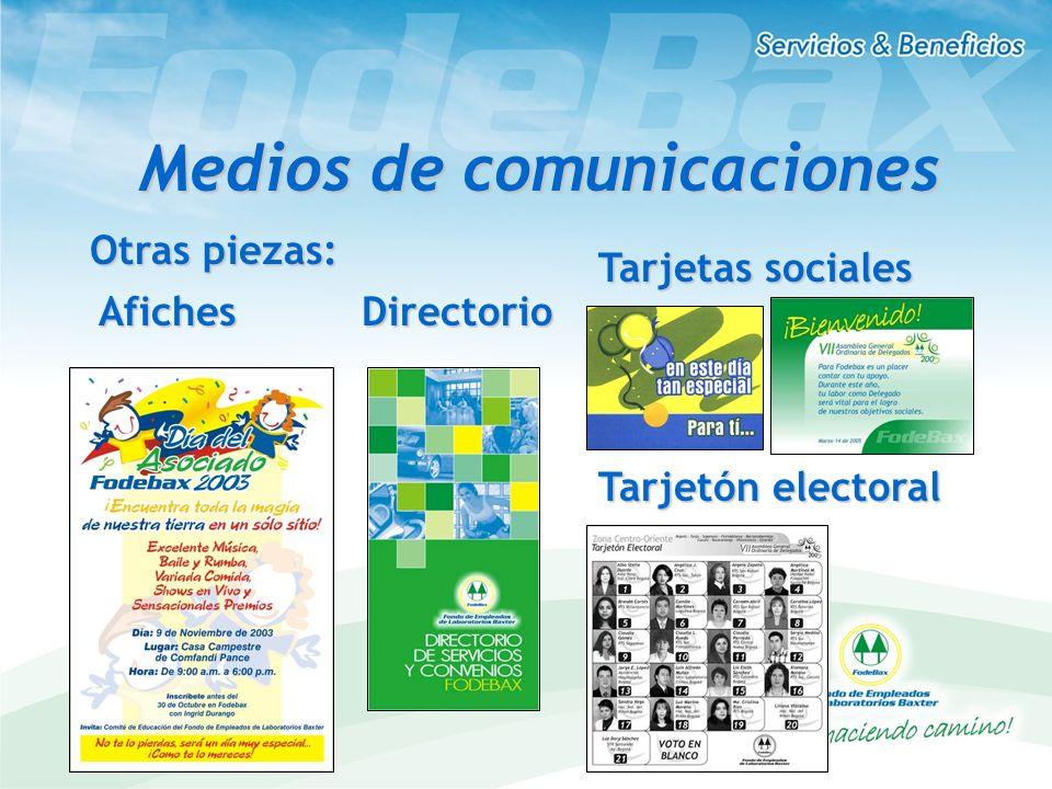 Otras piezas: AfichesDirectorio Tarjetas sociales Tarjetón electoral Medios de comunicaciones