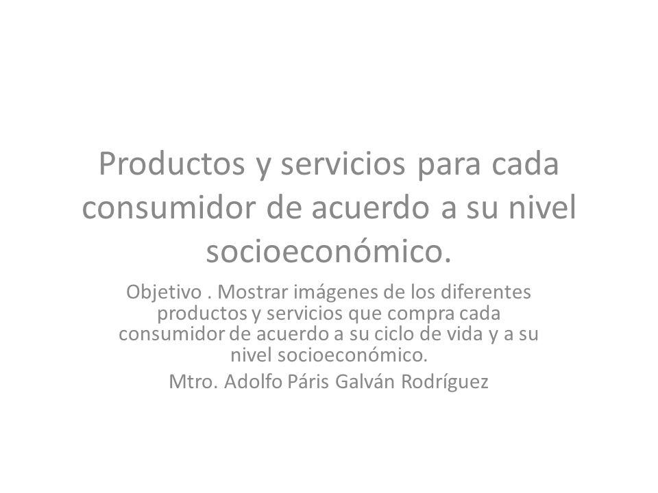 Productos y servicios para cada consumidor de acuerdo a su nivel socioeconómico. Objetivo. Mostrar imágenes de los diferentes productos y servicios qu
