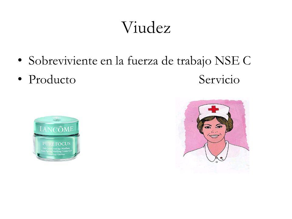 Viudez Sobreviviente en la fuerza de trabajo NSE C Producto Servicio