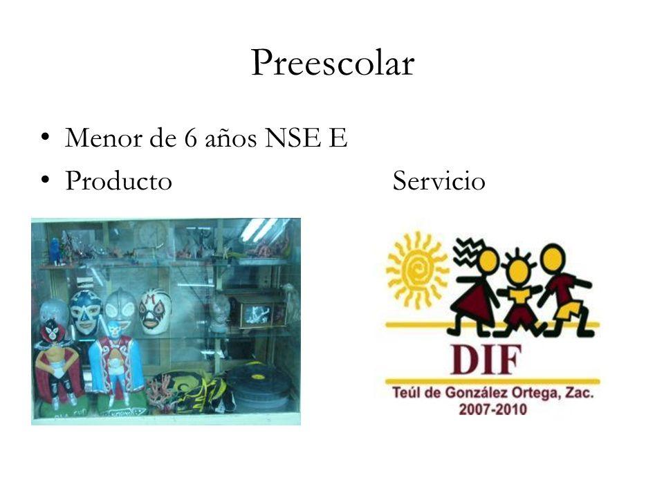 Preescolar Menor de 6 años NSE E Producto Servicio