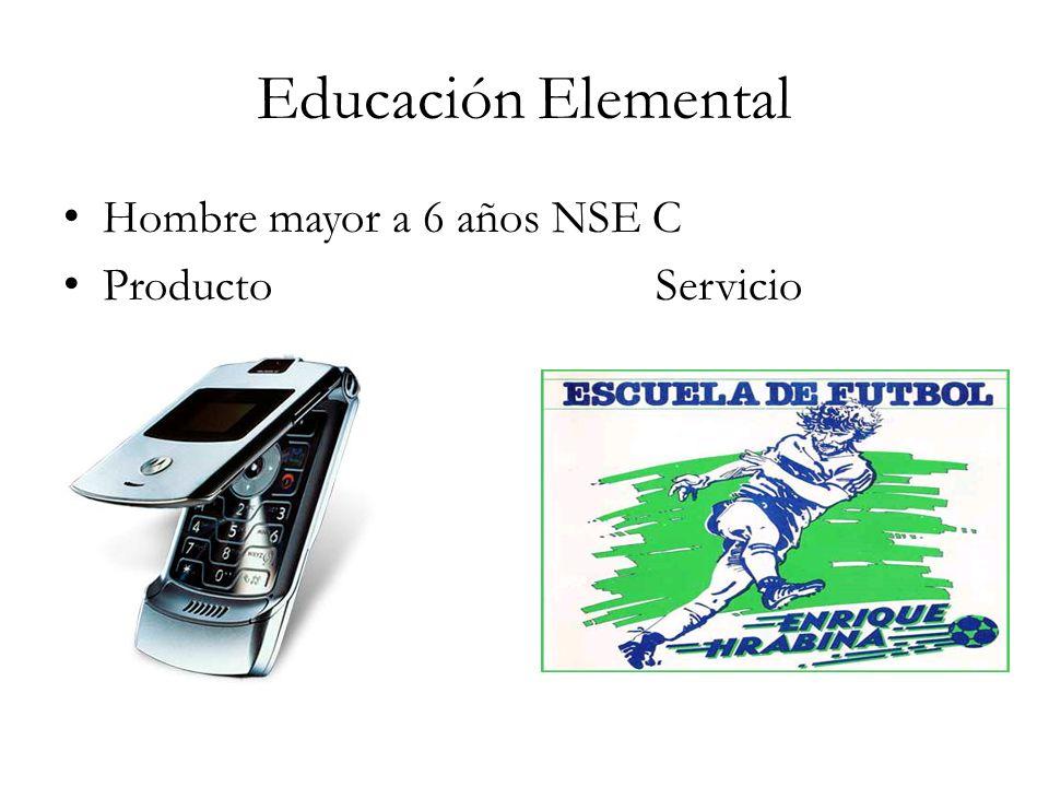 Educación Elemental Hombre mayor a 6 años NSE C Producto Servicio