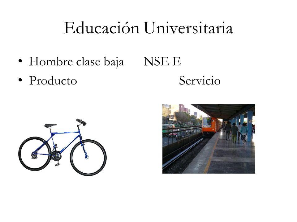 Educación Universitaria Hombre clase baja NSE E Producto Servicio