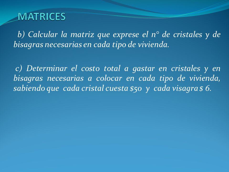 b) Calcular la matriz que exprese el n° de cristales y de bisagras necesarias en cada tipo de vivienda. c) Determinar el costo total a gastar en crist