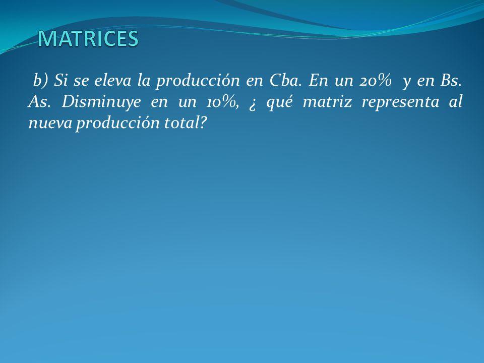 b) Si se eleva la producción en Cba. En un 20% y en Bs. As. Disminuye en un 10%, ¿ qué matriz representa al nueva producción total?