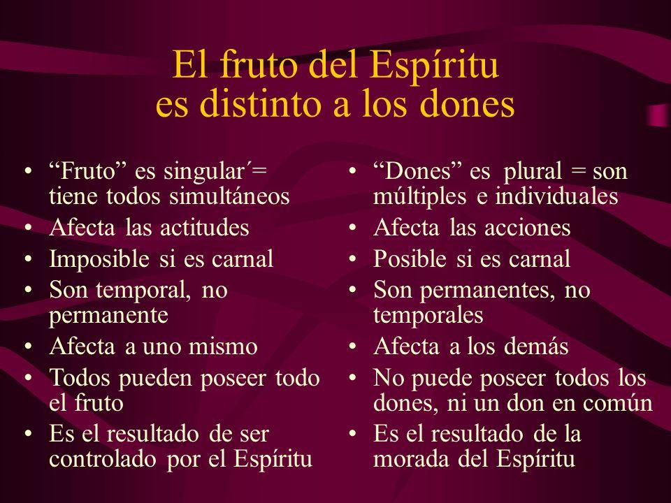 El fruto del Espíritu es distinto a los dones Fruto es singular´= tiene todos simultáneos Afecta las actitudes Imposible si es carnal Son temporal, no
