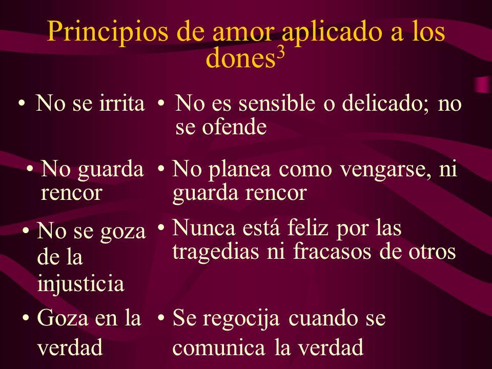 Principios de amor aplicado a los dones 3 No se irritaNo es sensible o delicado; no se ofende No guarda rencor No se goza de la injusticia Goza en la