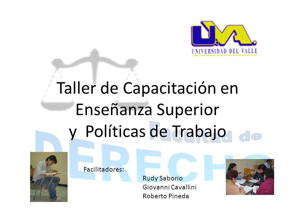 Taller de Capacitación en Enseñanza Superior y Políticas de Trabajo Facilitadores: Rudy Saborio Giovanni Cavallini Roberto Pineda