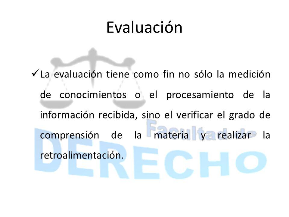 Evaluación La evaluación tiene como fin no sólo la medición de conocimientos o el procesamiento de la información recibida, sino el verificar el grado