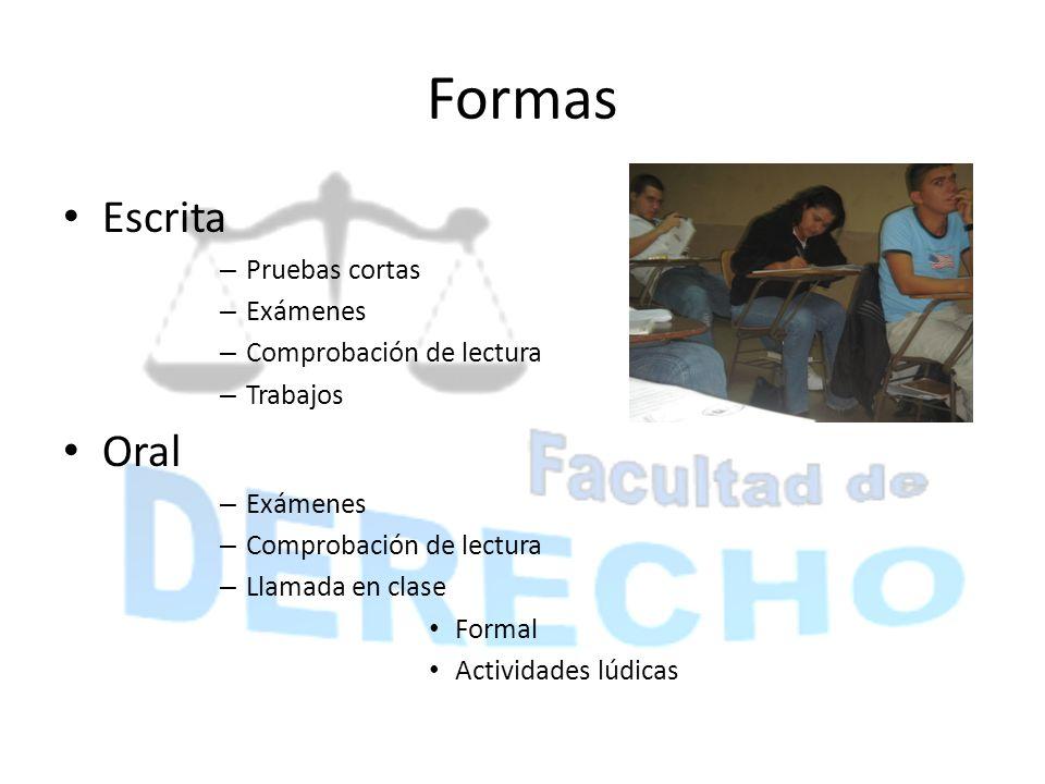 Formas Escrita – Pruebas cortas – Exámenes – Comprobación de lectura – Trabajos Oral – Exámenes – Comprobación de lectura – Llamada en clase Formal Ac