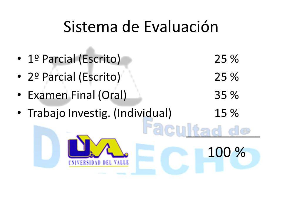 Sistema de Evaluación 1º Parcial (Escrito)25 % 2º Parcial (Escrito)25 % Examen Final (Oral)35 % Trabajo Investig. (Individual)15 % ____________ 100 %