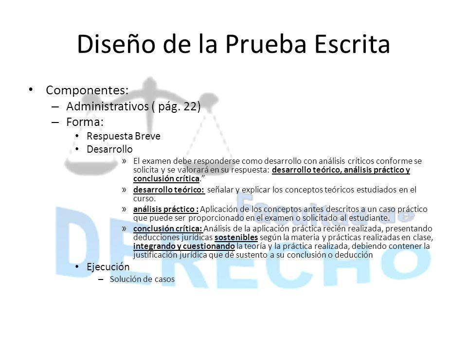 Diseño de la Prueba Escrita Componentes: – Administrativos ( pág. 22) – Forma: Respuesta Breve Desarrollo » El examen debe responderse como desarrollo