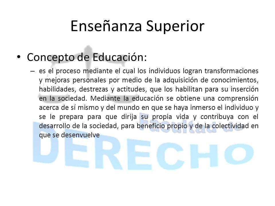 Enseñanza Superior Concepto de Educación: – es el proceso mediante el cual los individuos logran transformaciones y mejoras personales por medio de la