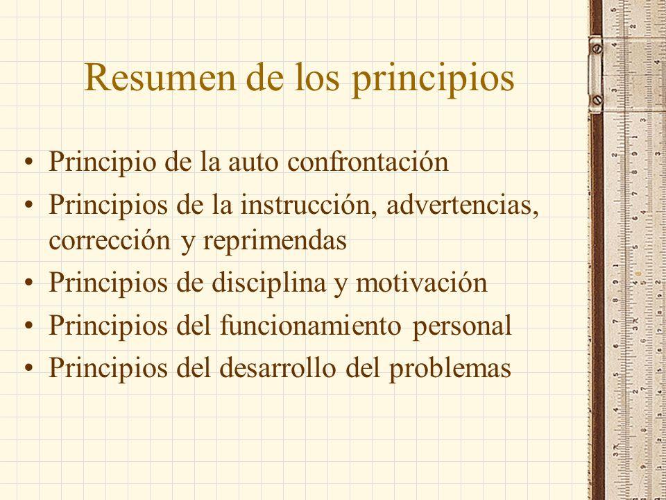 Resumen de los principios Principio de la auto confrontación Principios de la instrucción, advertencias, corrección y reprimendas Principios de discip