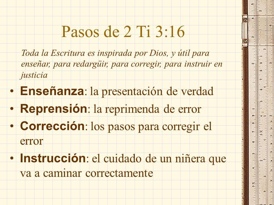 Pasos de 2 Ti 3:16 Enseñanza : la presentación de verdad Reprensión : la reprimenda de error Corrección : los pasos para corregir el error Instrucción