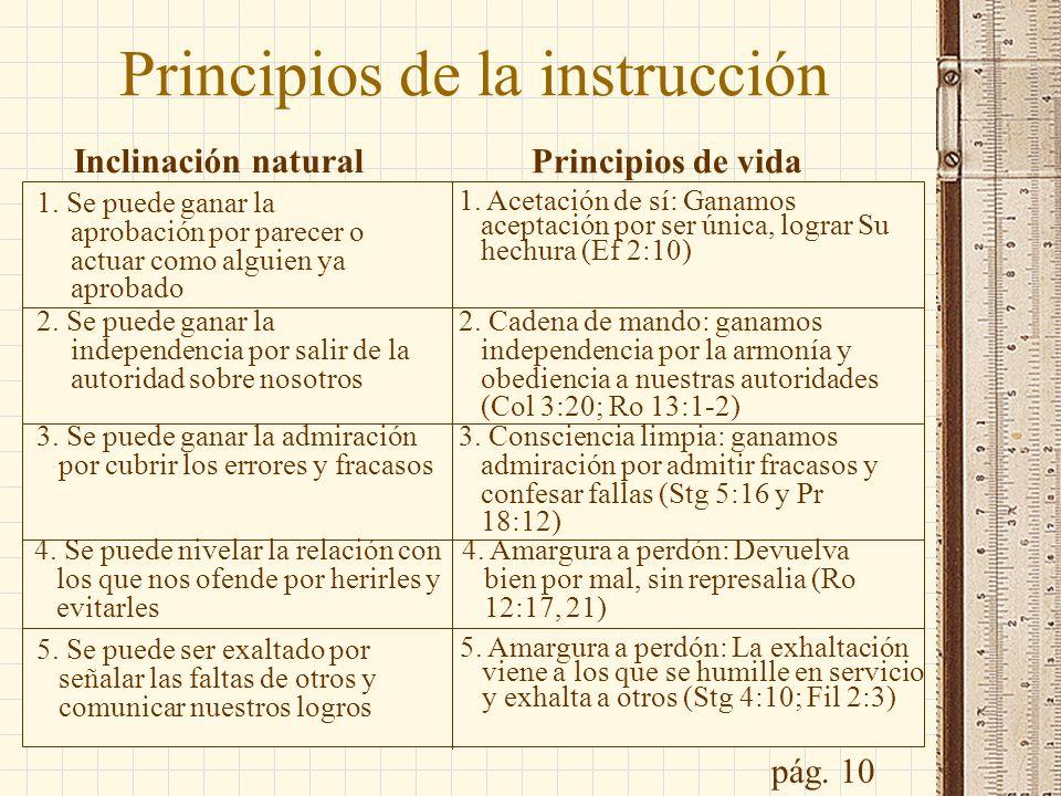 Principios de la instrucción Inclinación natural Principios de vida 1. Se puede ganar la aprobación por parecer o actuar como alguien ya aprobado 2. S