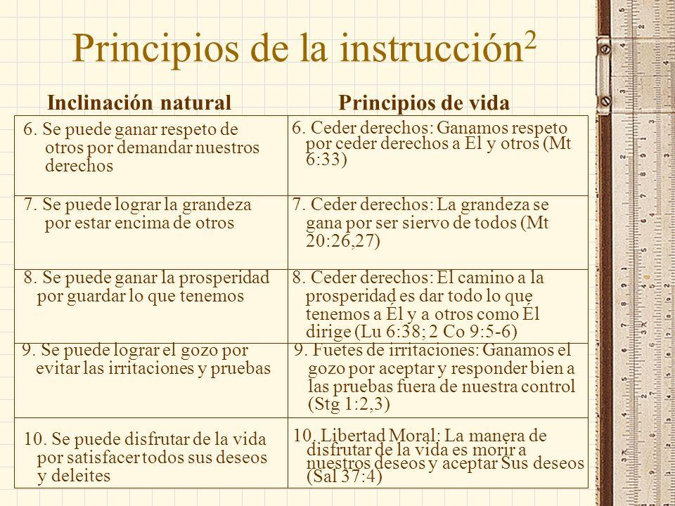 10. Libertad Moral: La manera de disfrutar de la vida es morir a nuestros deseos y aceptar Sus deseos (Sal 37:4) Principios de la instrucción 2 Inclin