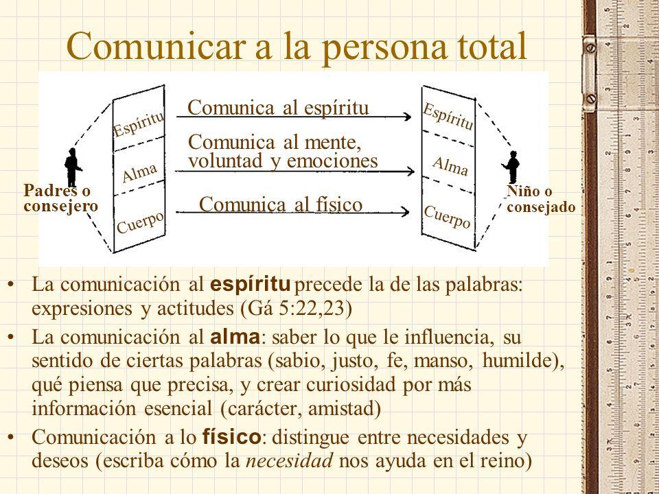 Espíritu Alma Cuerpo Padres o consejero Niño o consejado Comunicar a la persona total Comunica al espíritu Comunica al mente, voluntad y emociones Com