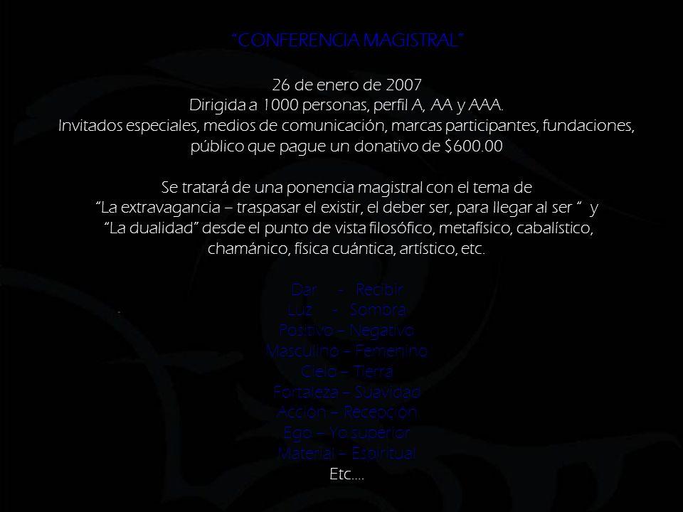 CONFERENCIA MAGISTRAL 26 de enero de 2007 Dirigida a 1000 personas, perfil A, AA y AAA.