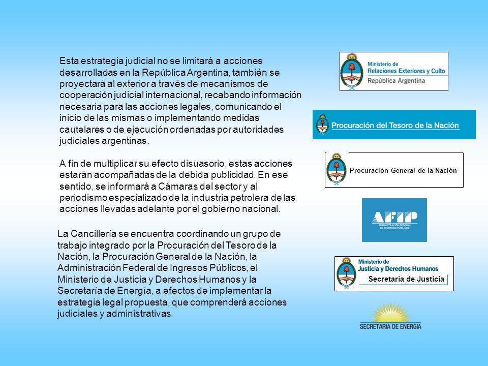 La Cancillería se encuentra coordinando un grupo de trabajo integrado por la Procuración del Tesoro de la Nación, la Procuración General de la Nación,