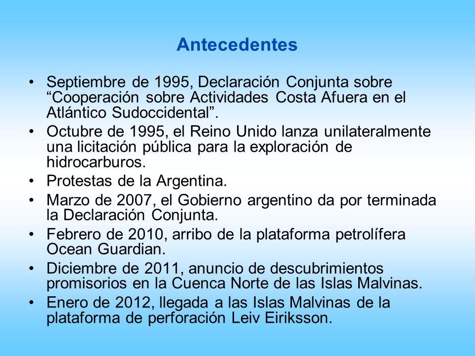 Antecedentes Septiembre de 1995, Declaración Conjunta sobre Cooperación sobre Actividades Costa Afuera en el Atlántico Sudoccidental. Octubre de 1995,