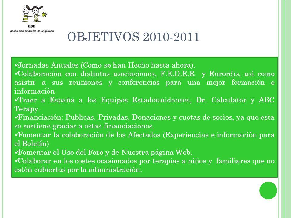 OBJETIVOS 2010-2011 Jornadas Anuales (Como se han Hecho hasta ahora).