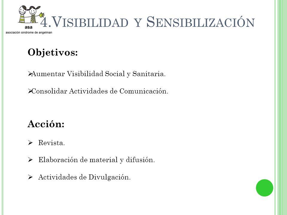 4.V ISIBILIDAD Y S ENSIBILIZACIÓN Objetivos: Aumentar Visibilidad Social y Sanitaria.
