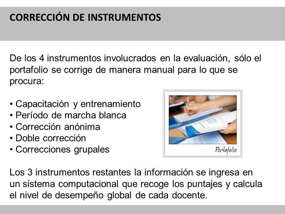 Reforma Curricular para la Educación CORRECCIÓN DE INSTRUMENTOS De los 4 instrumentos involucrados en la evaluación, sólo el portafolio se corrige de