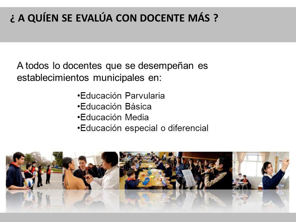 Reforma Curricular para la Educación ¿ A QUÍEN SE EVALÚA CON DOCENTE MÁS ? A todos lo docentes que se desempeñan es establecimientos municipales en: E
