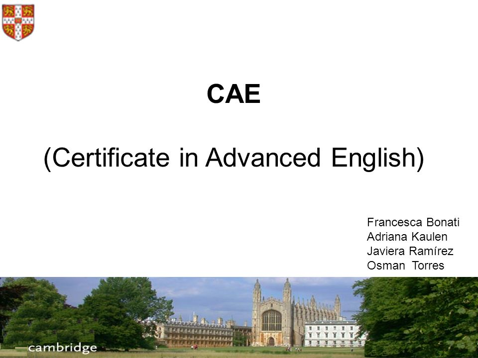 CAE (Certificate in Advanced English) Francesca Bonati Adriana Kaulen Javiera Ramírez Osman Torres