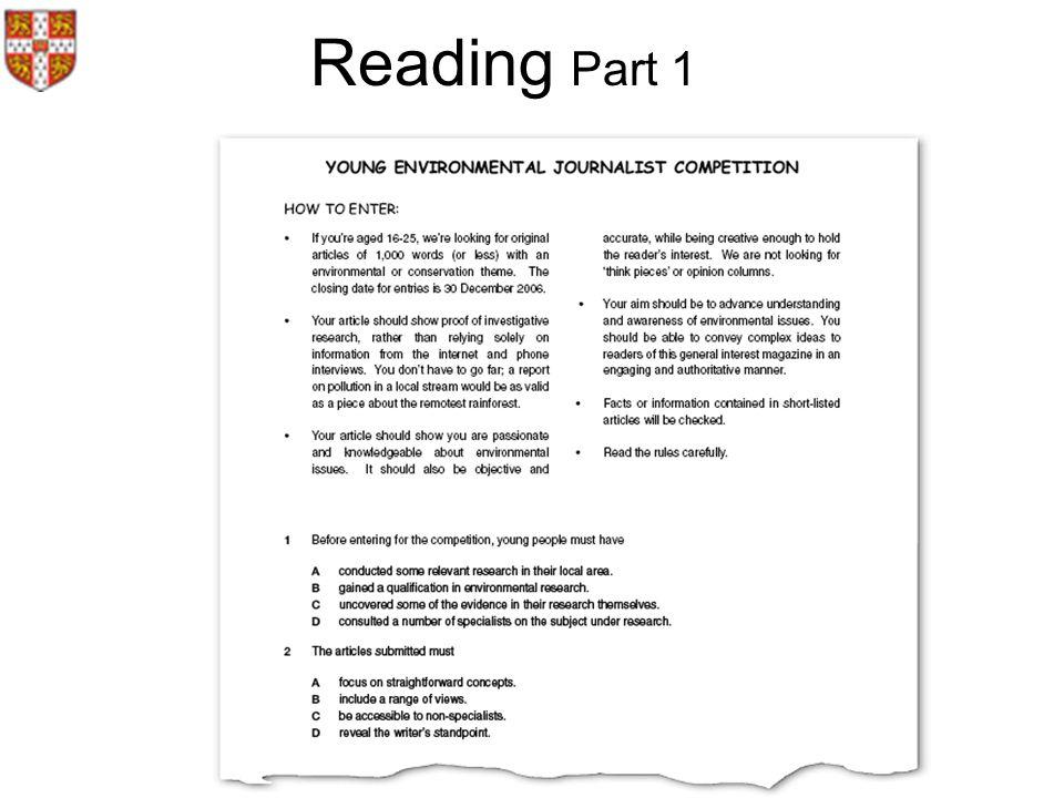 Reading Part 1.