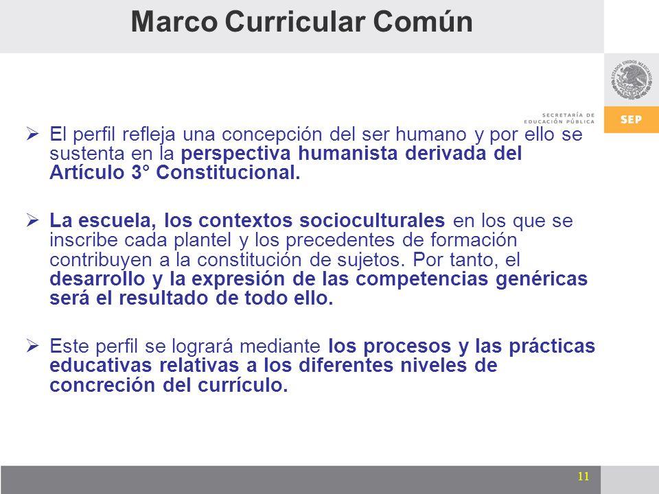 11 El perfil refleja una concepción del ser humano y por ello se sustenta en la perspectiva humanista derivada del Artículo 3° Constitucional. La escu