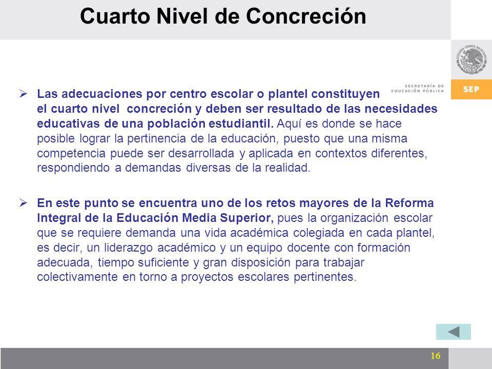 16 Cuarto Nivel de Concreción Las adecuaciones por centro escolar o plantel constituyen el cuarto nivel concreción y deben ser resultado de las necesi