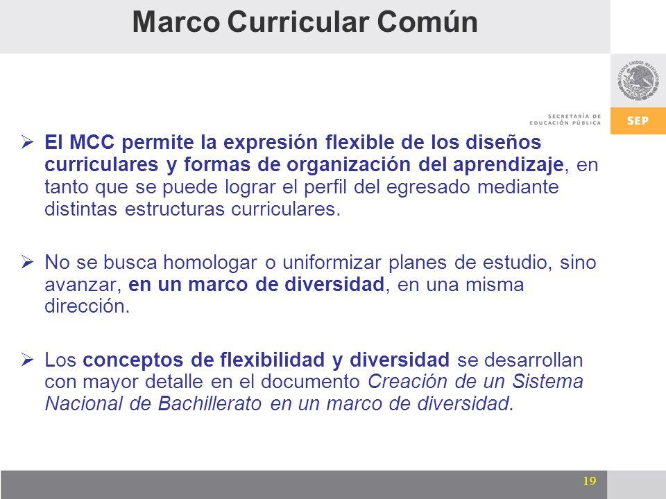 19 El MCC permite la expresión flexible de los diseños curriculares y formas de organización del aprendizaje, en tanto que se puede lograr el perfil d